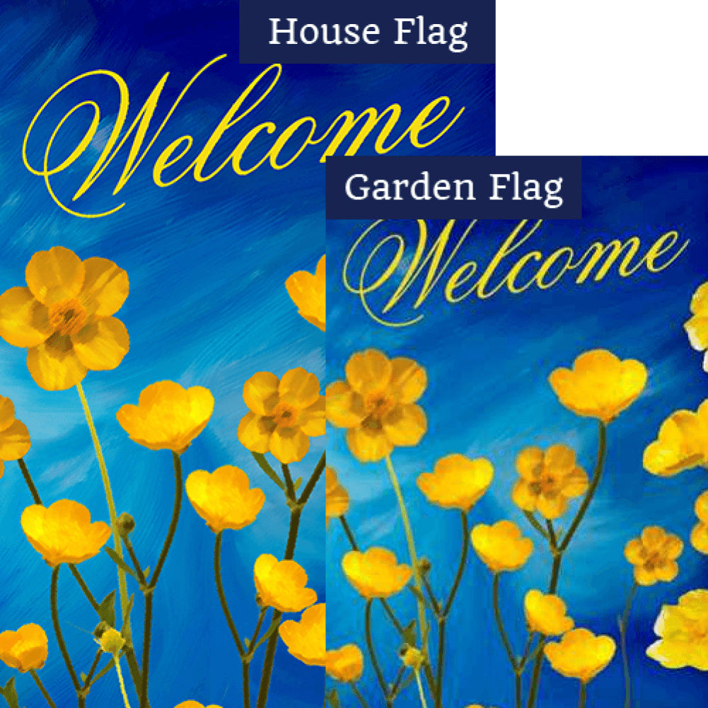Buttercups Welcome Watercolor Flags Set (2 Pieces)