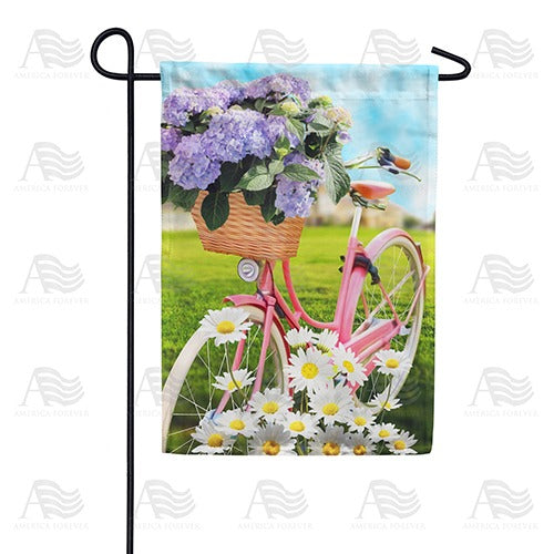 Pedaling Petals Double Sided Garden Flag
