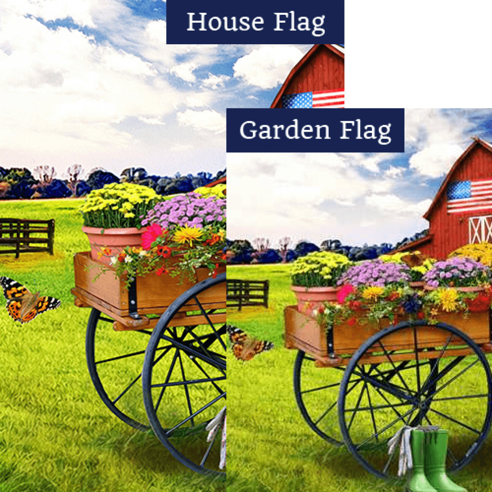 Cart Of Mums Flags Set (2 Pieces)