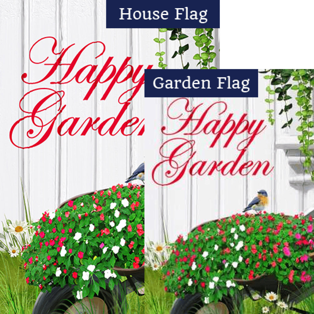 Happy Garden Double Sided Flags Set (2 Pieces)