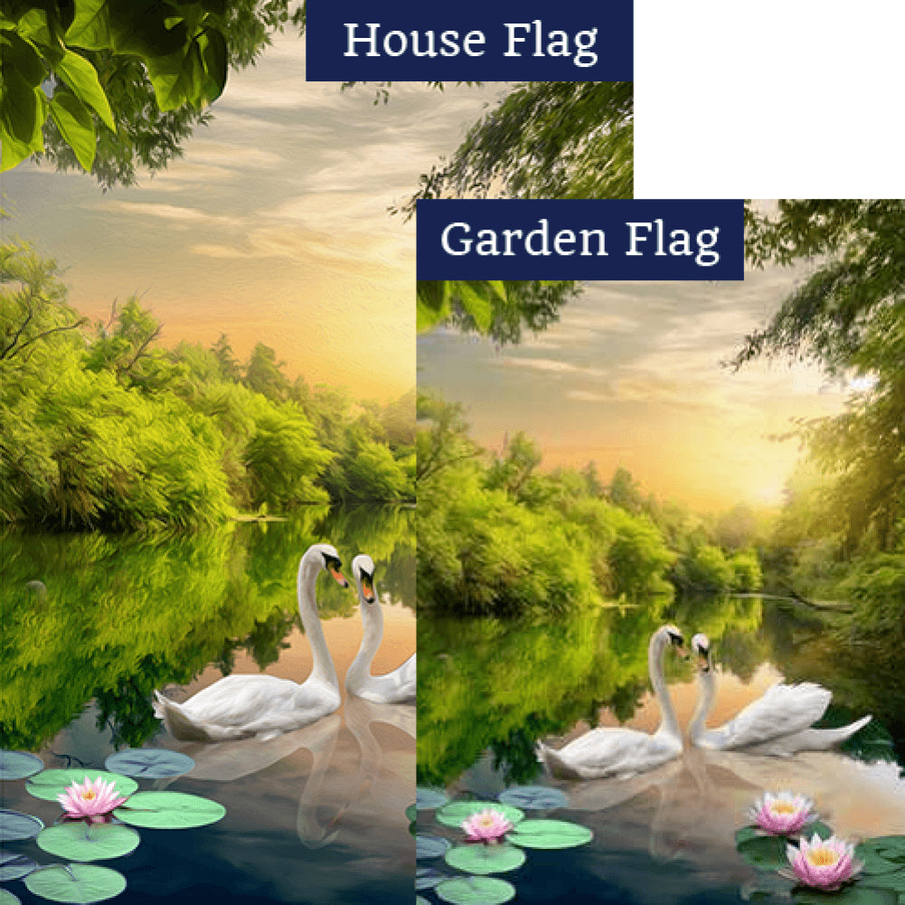 Swan Lotus Lake Double Sided Flags Set (2 Pieces)