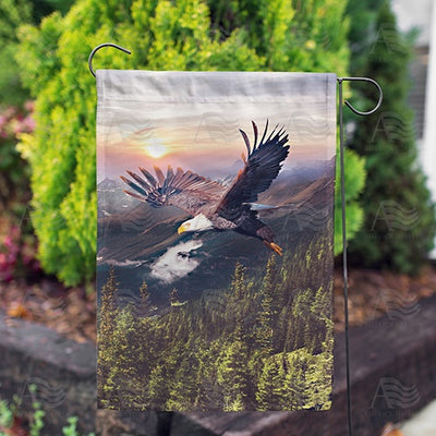 Eagle Evening Flight Double Sided Garden Flag