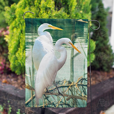 White Egrets Double Sided Garden Flag