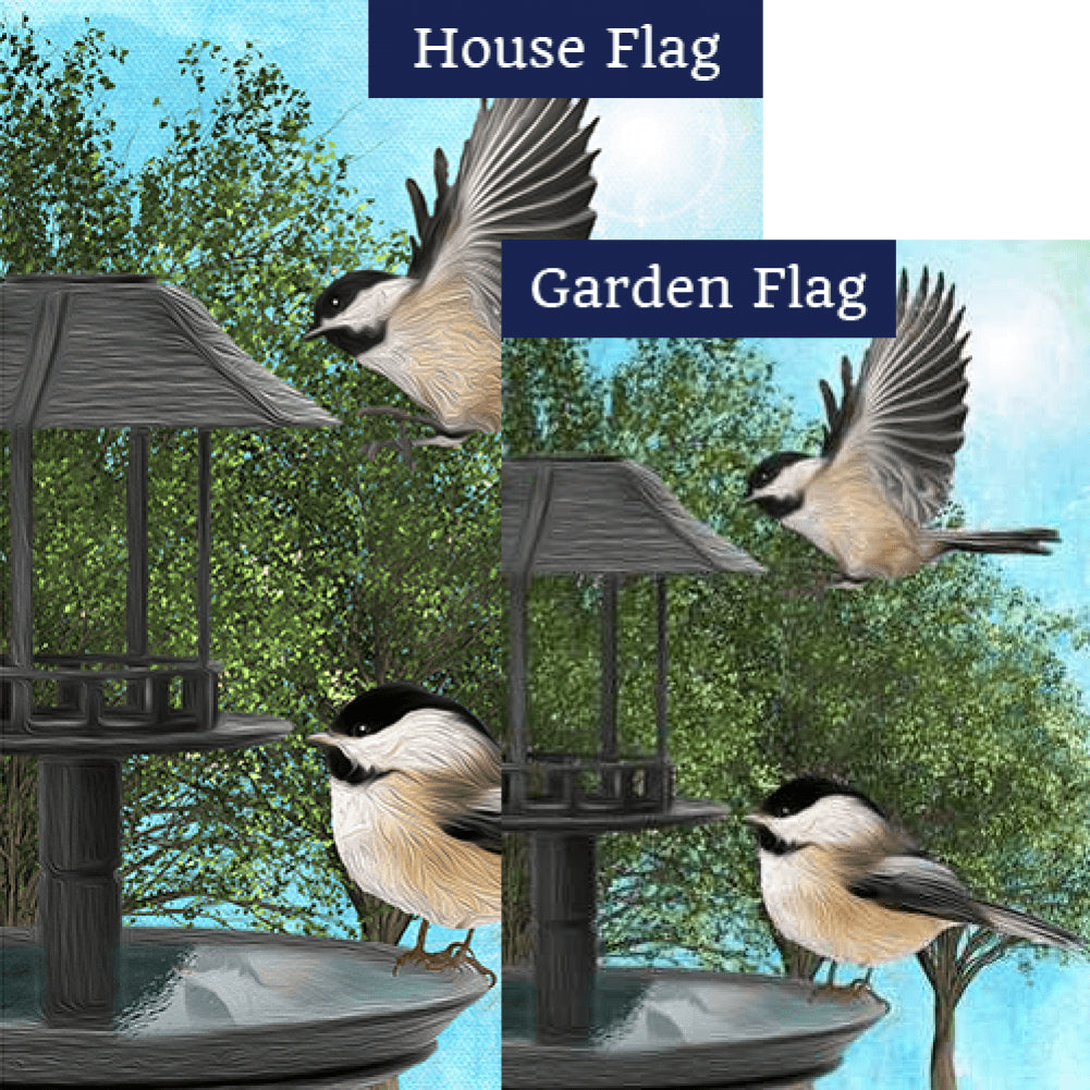 Chickadees At Feeder Double Sided Flags Set (2 Pieces)
