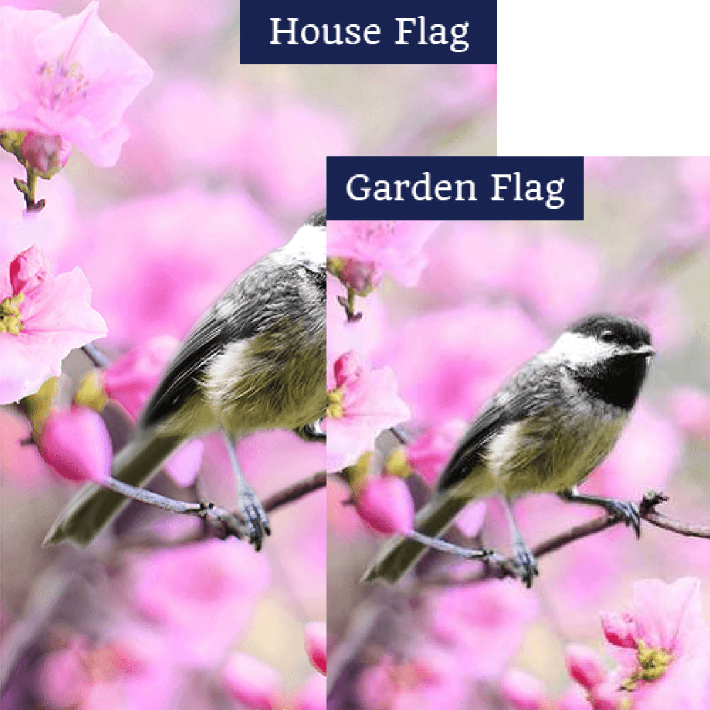 Chickadee In Apple Tree Blossoms Double Sided Flags Set (2 Pieces)