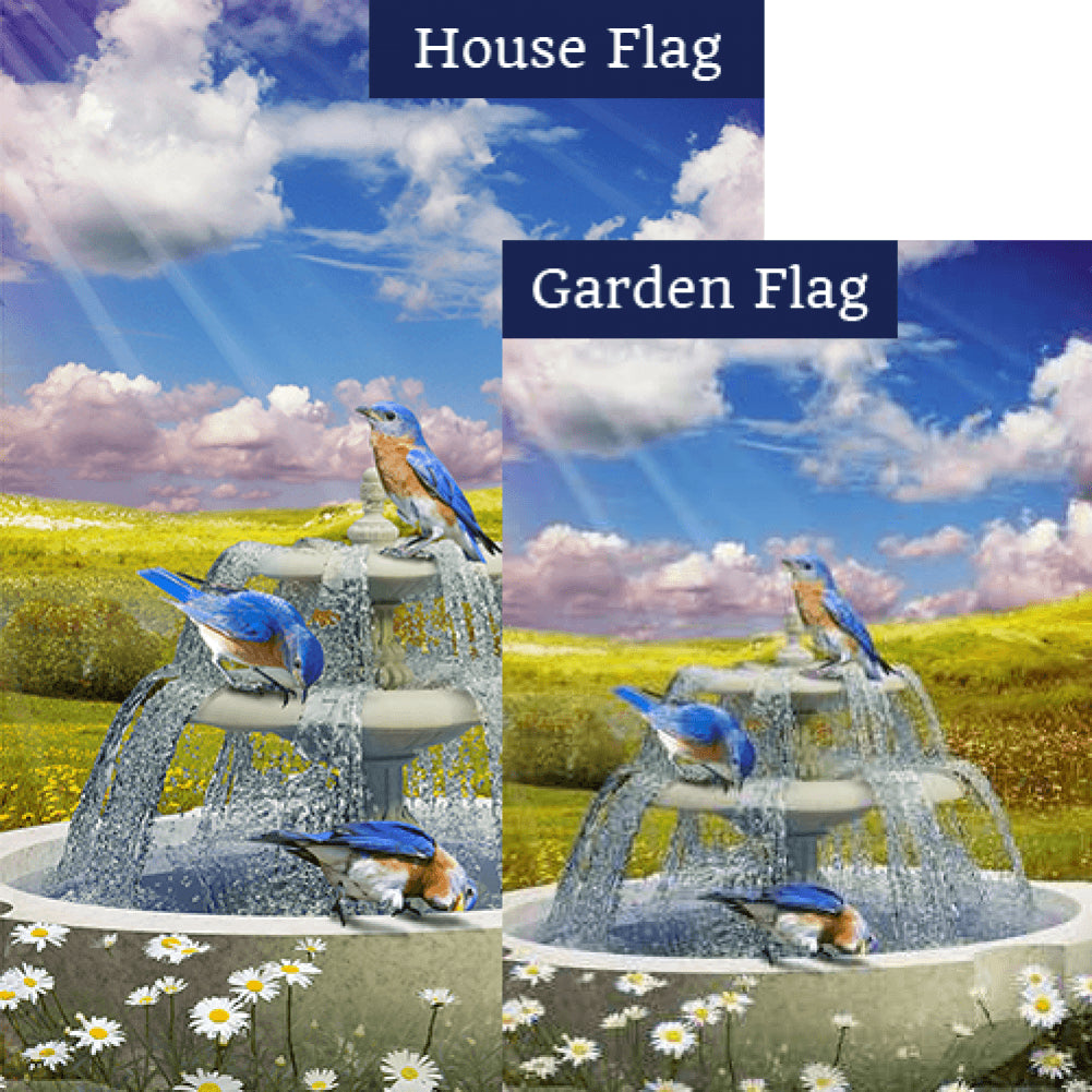 Bluebirds In Water Fountain Double Sided Flags Set (2 Pieces)