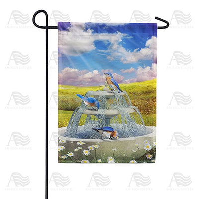 Bluebirds In Water Fountain Double Sided Garden Flag