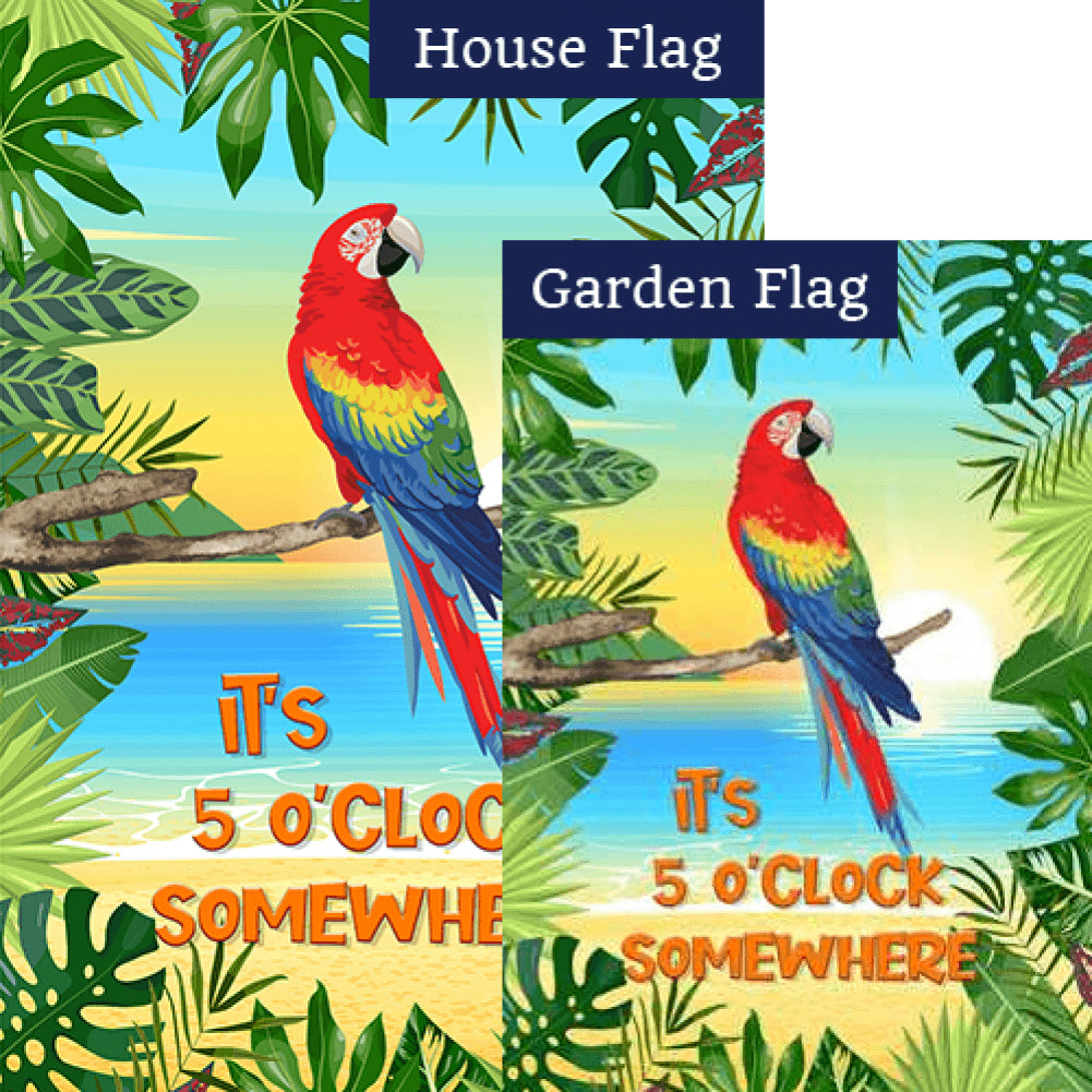 It's 5 O'clock Somewhere! Double Sided Flags Set (2 Pieces)