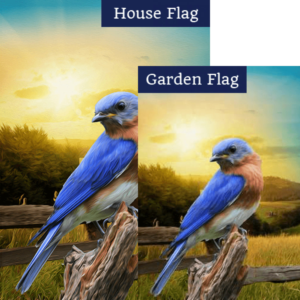 Bluebird In The Country Double Sided Flags Set (2 Pieces)