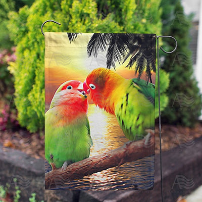Kissing Lovebirds Double Sided Garden Flag