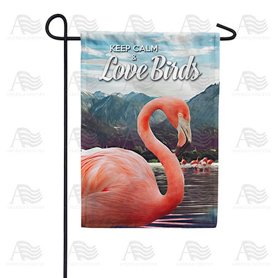 Flamingos On Mountain Lake Double Sided Garden Flag