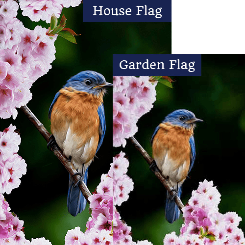 Bluebird In Cherry Tree Double Sided Flags Set (2 Pieces)