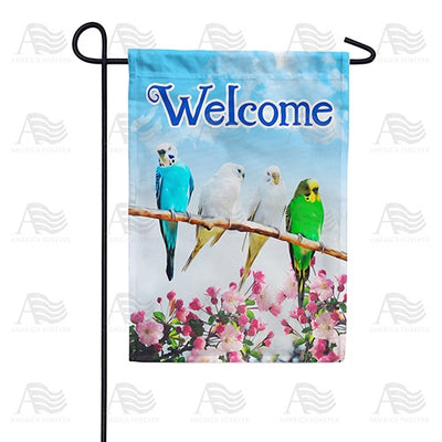 Parakeet Welcome Double Sided Garden Flag