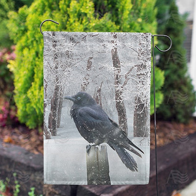 Winter Crow Double Sided Garden Flag