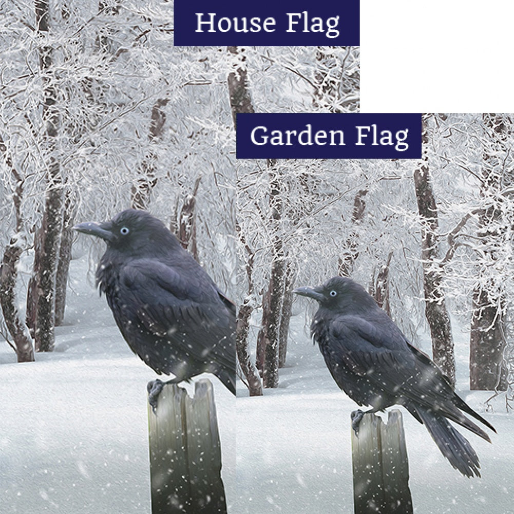 Winter Crow Double Sided Flags Set (2 Pieces)