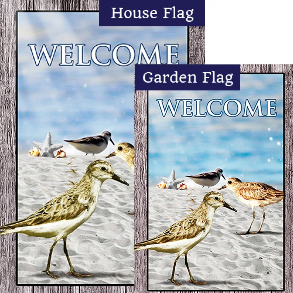 Sandpipers At Sea Shore Double Sided Flags Set (2 Pieces)