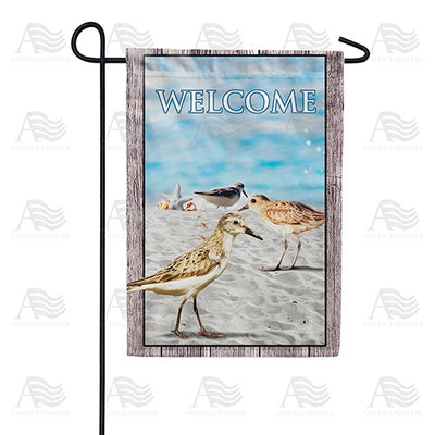 Sandpipers At Sea Shore Double Sided Garden Flag