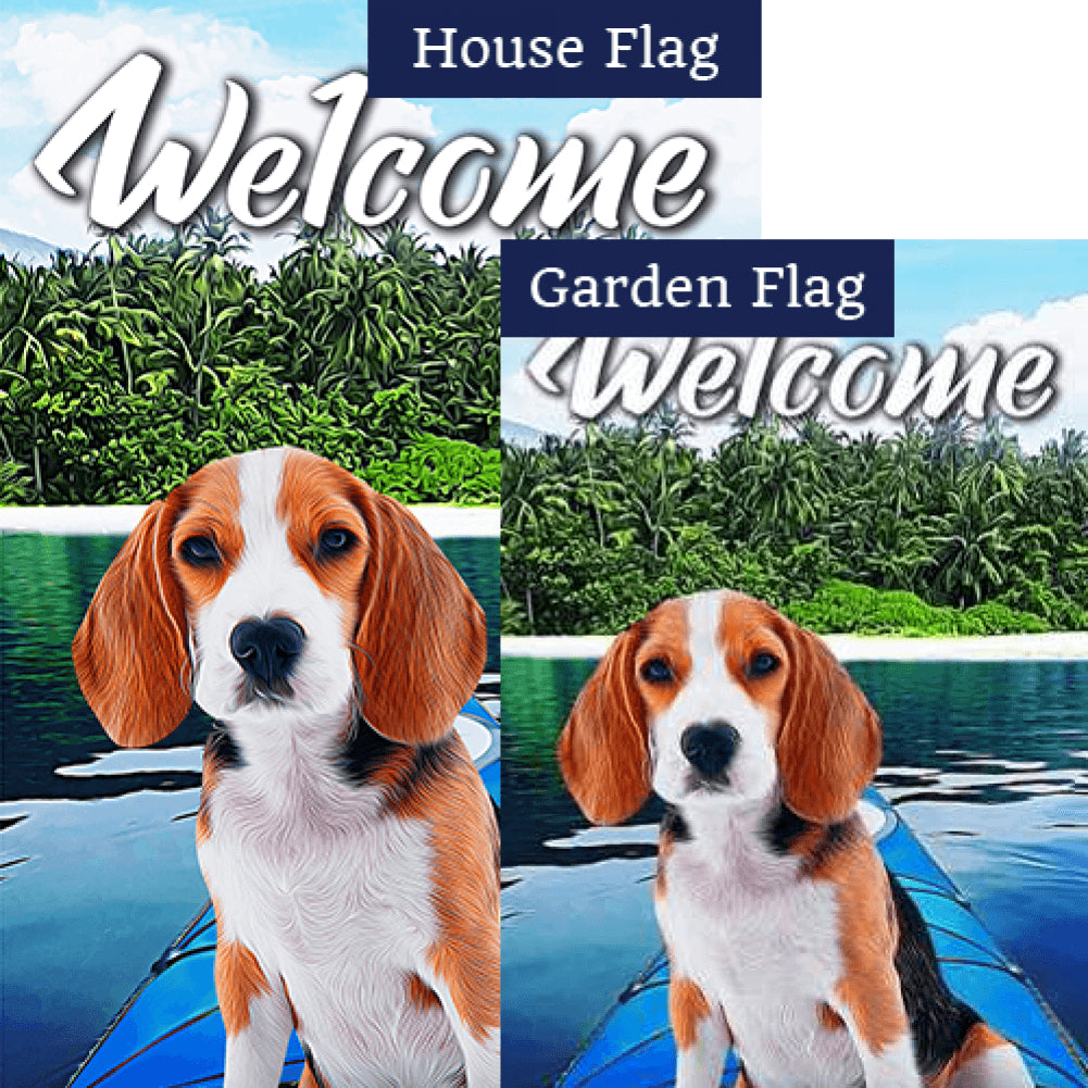 Kayaking Beagle Double Sided Flags Set (2 Pieces)