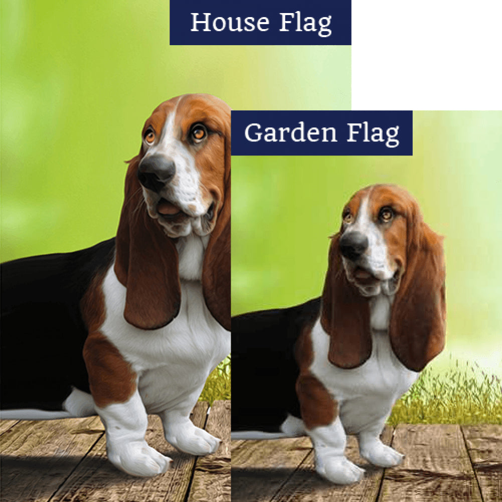 All Ears Basset Hound Double Sided Flags Set (2 Pieces)