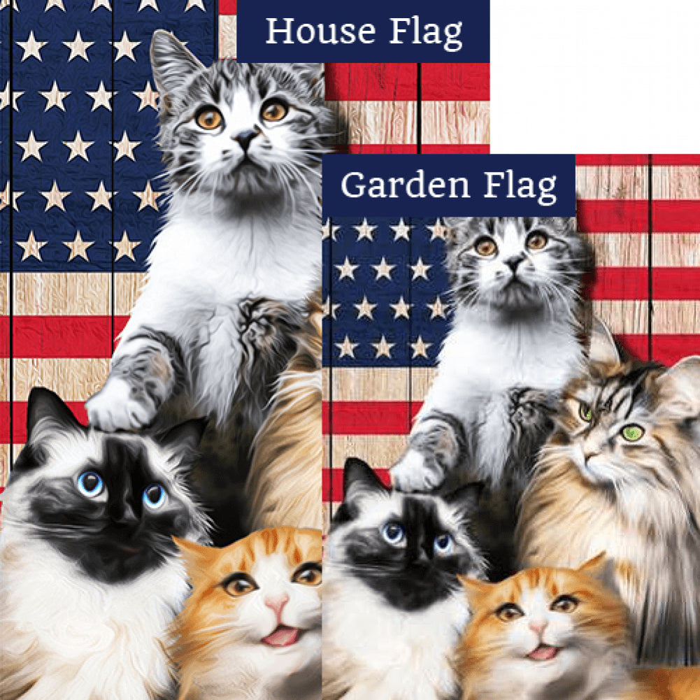 All American Kitties Double Sided Flags Set (2 Pieces)