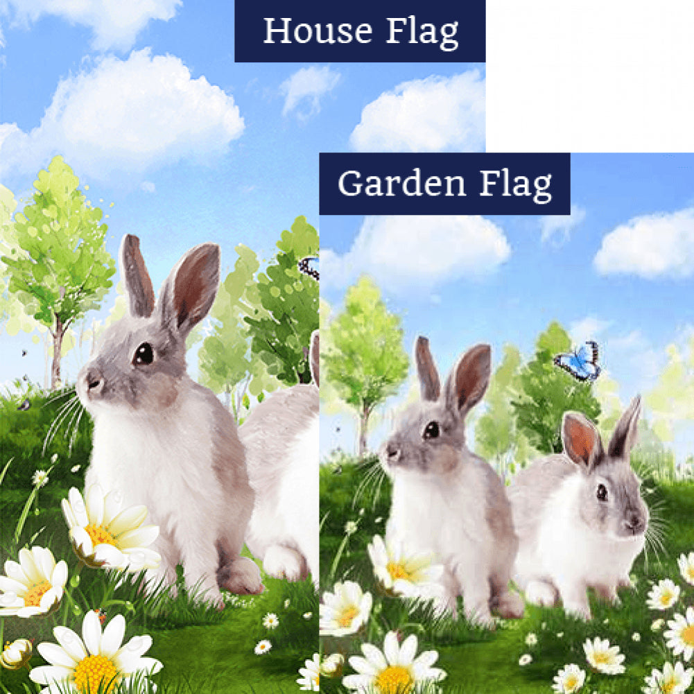Spring Bunnies Double Sided Flags Set (2 Pieces)