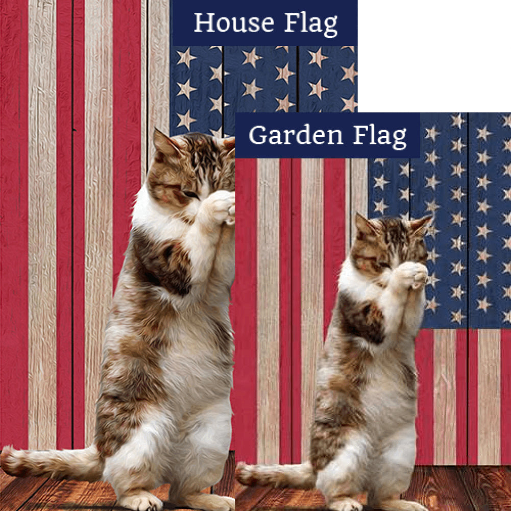 Cat Praying Double Sided Flags Set (2 Pieces)