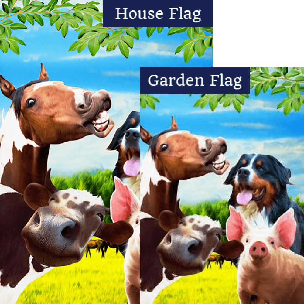 Funny Farm Friends Double Sided Flags Set (2 Pieces)