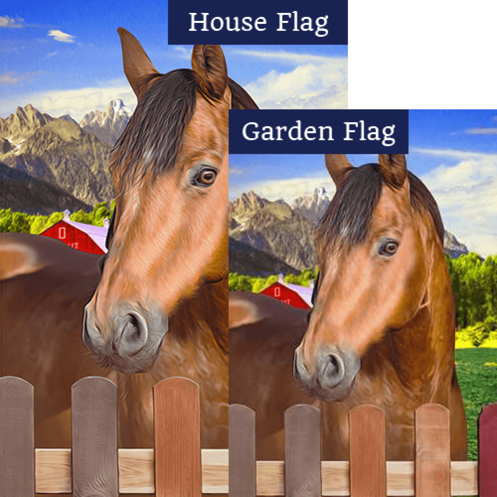 Chestnut Horse Double Sided Flags Set (2 Pieces)