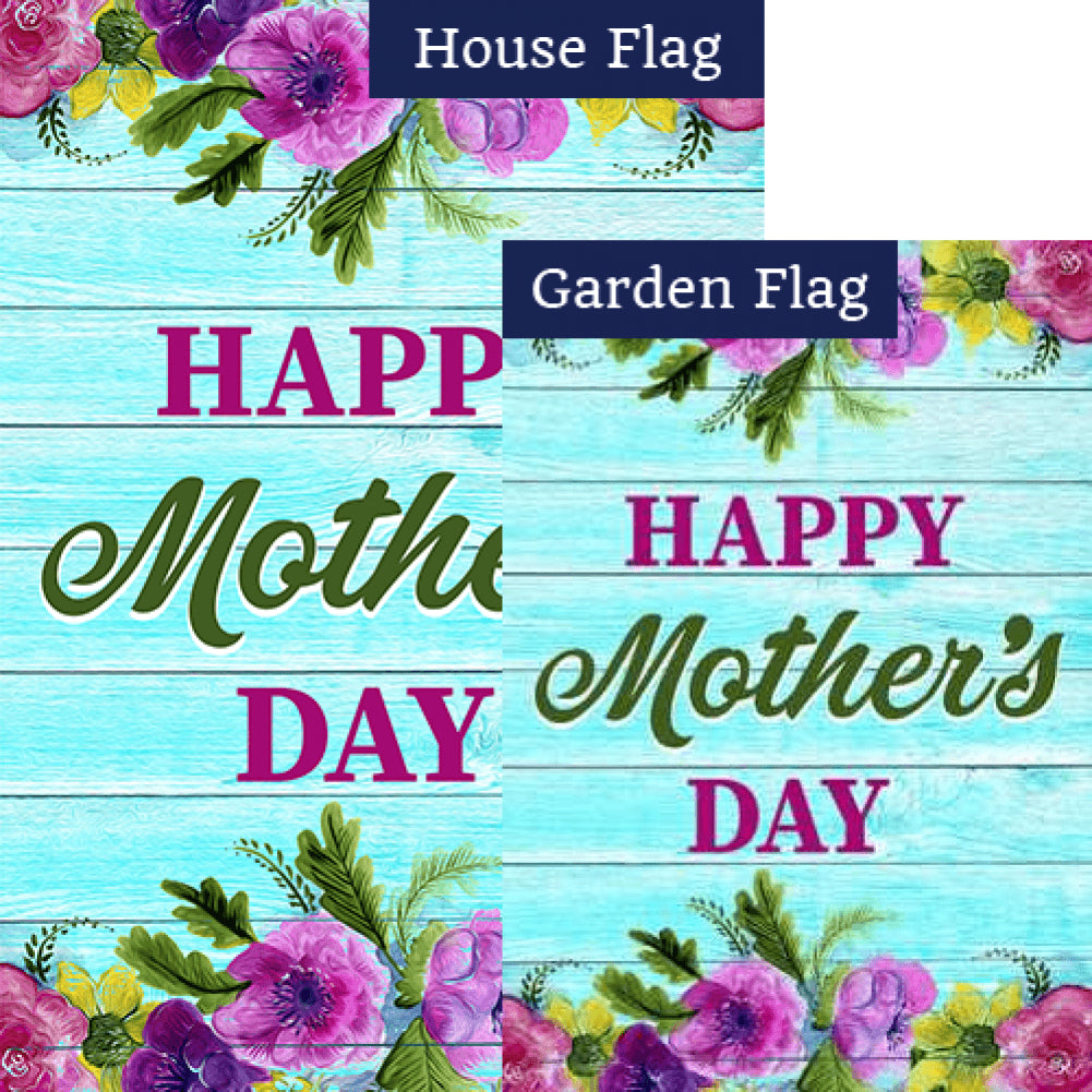 Happy Mother's Day On Blue Wood Double Sided Flags Set (2 Pieces)