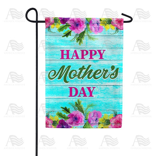 Happy Mother's Day On Blue Wood Double Sided Garden Flag