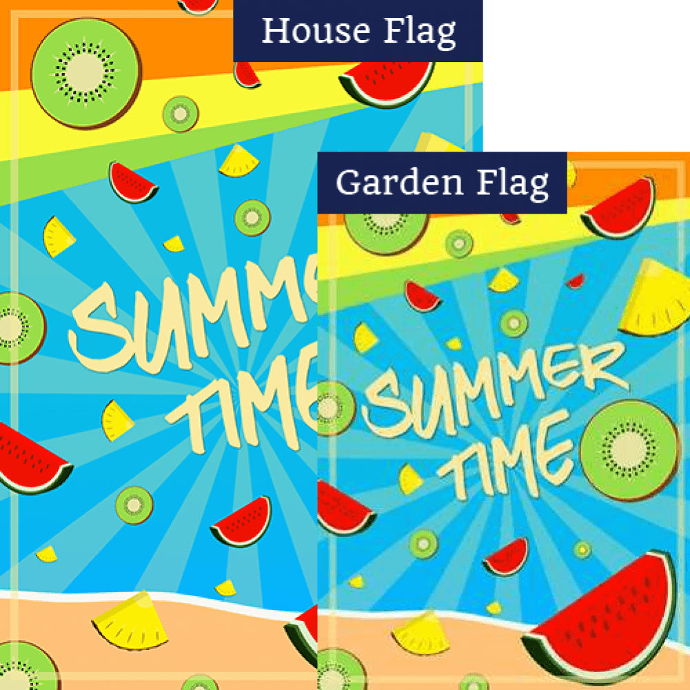 Summer Time Fruits Double Sided Flags Set (2 Pieces)