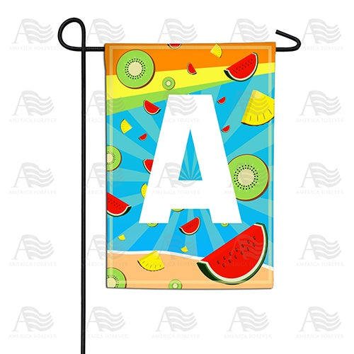 Summer Time Fruits Monogram Double Sided Garden Flag