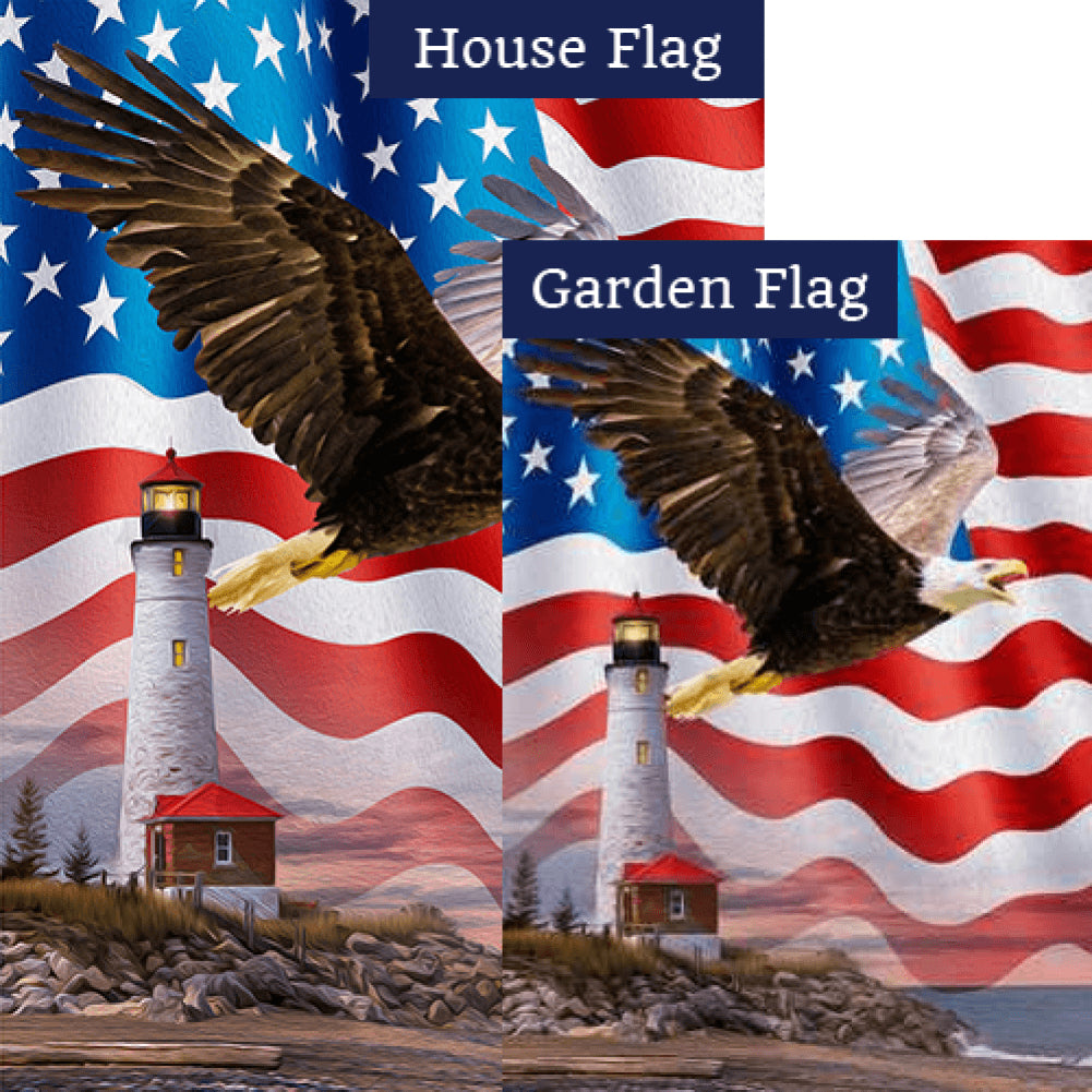 Patriotic Bald Eagle Flags Set (2 Pieces)