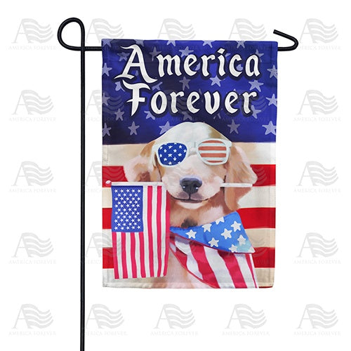 America Forever Puppy Double Sided Garden Flag