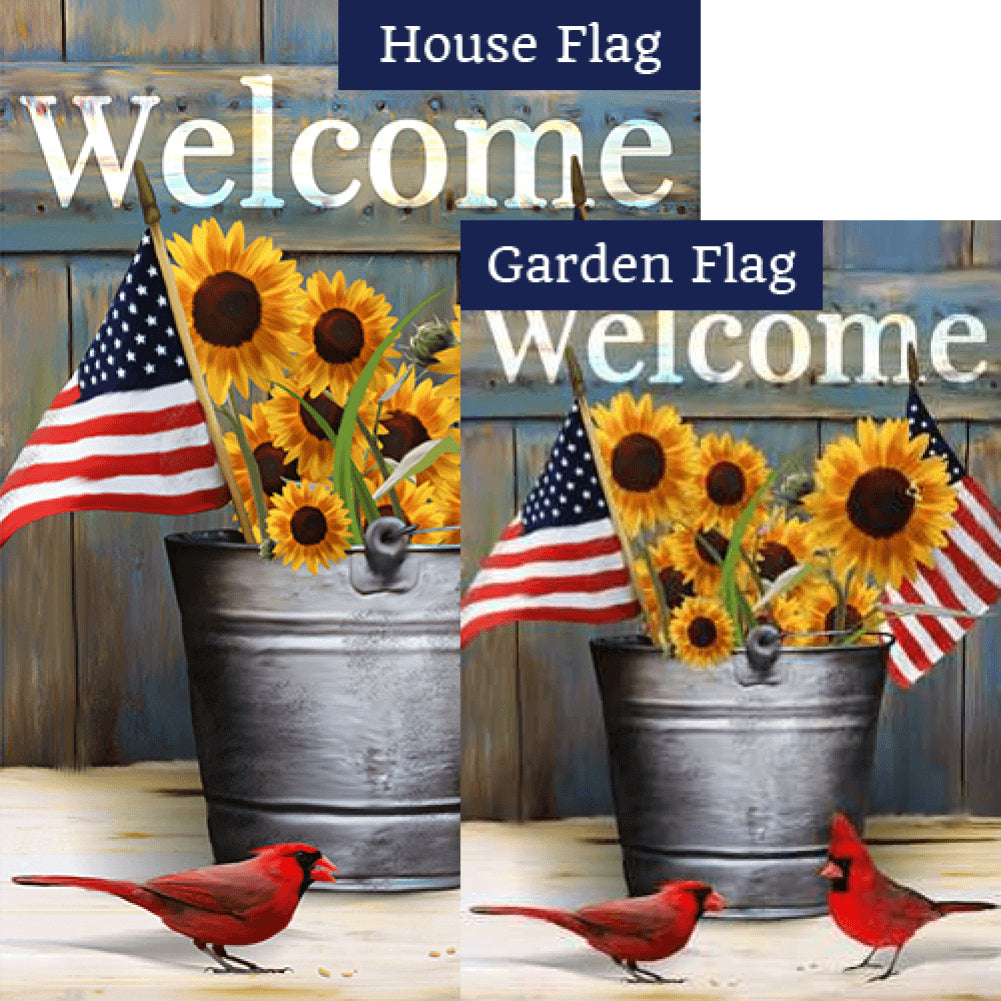 Sunflower and Cardinals Welcome Flags Set (2 Pieces)