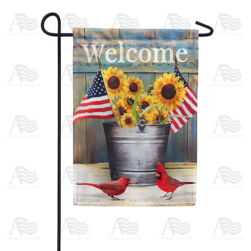Sunflower and Cardinals Welcome Double Sided Garden Flag