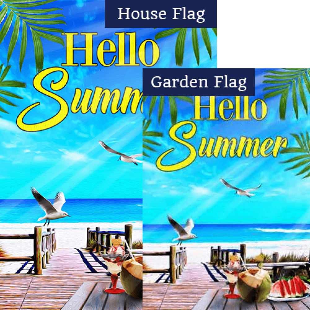 Beach Life Hello Summer Flags Set (2 Pieces)