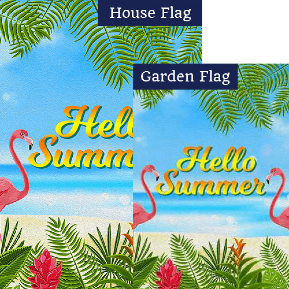 Twin Flamingo Summer Hello Flags Set (2 Pieces)
