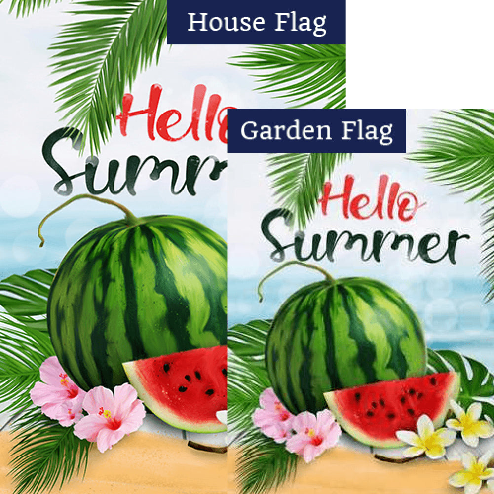 Hello Sweet Summer Watermelon Flags Set (2 Pieces)