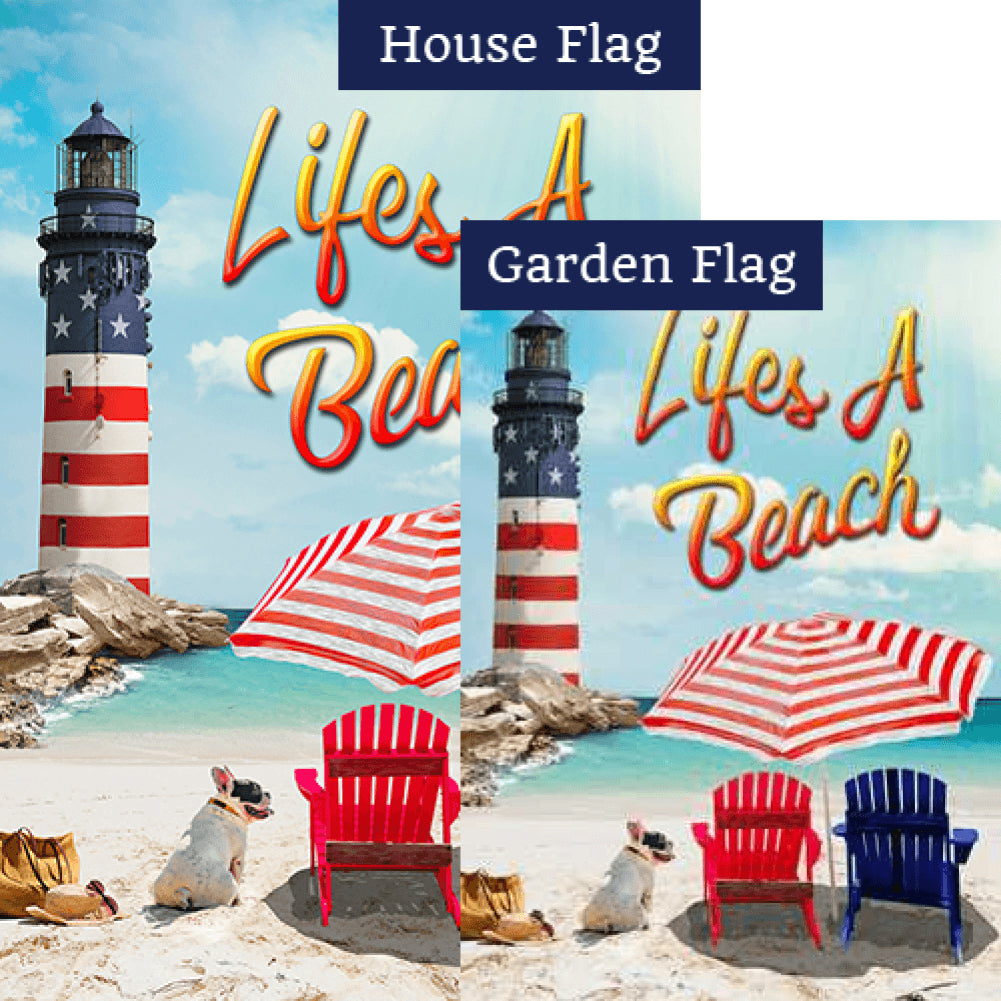 Life's A Beach Lighthouse Flags Set (2 Pieces)