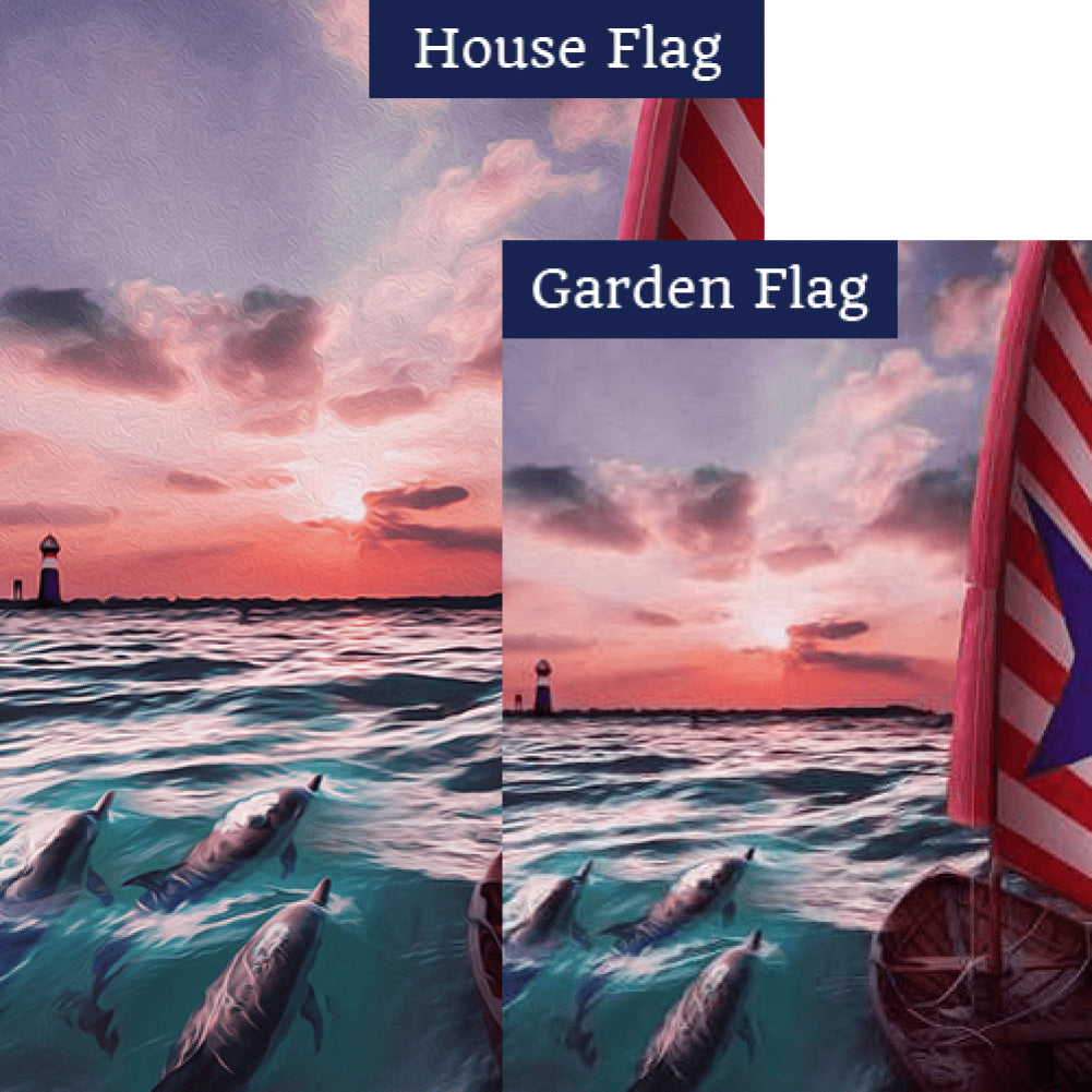 Dolphin Pod Sunset Swim Flags Set (2 Pieces)