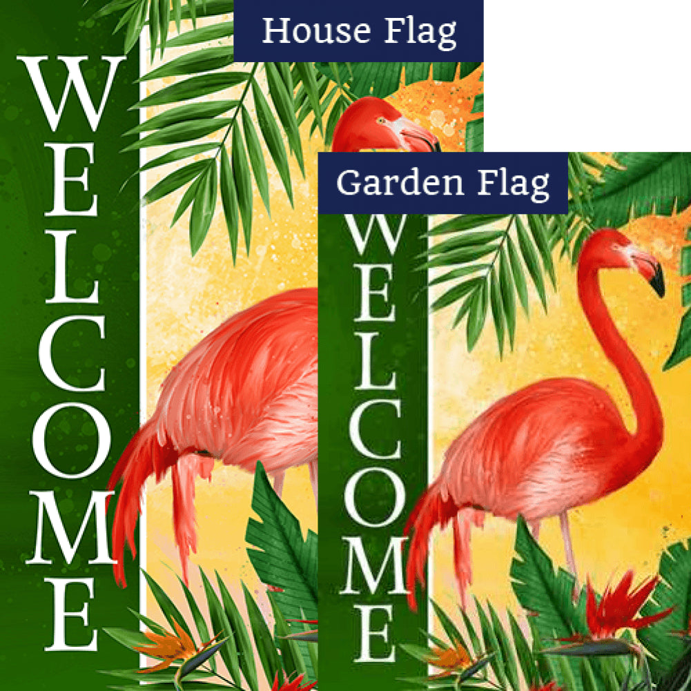 Pink Flamingo Welcome Flags Set (2 Pieces)