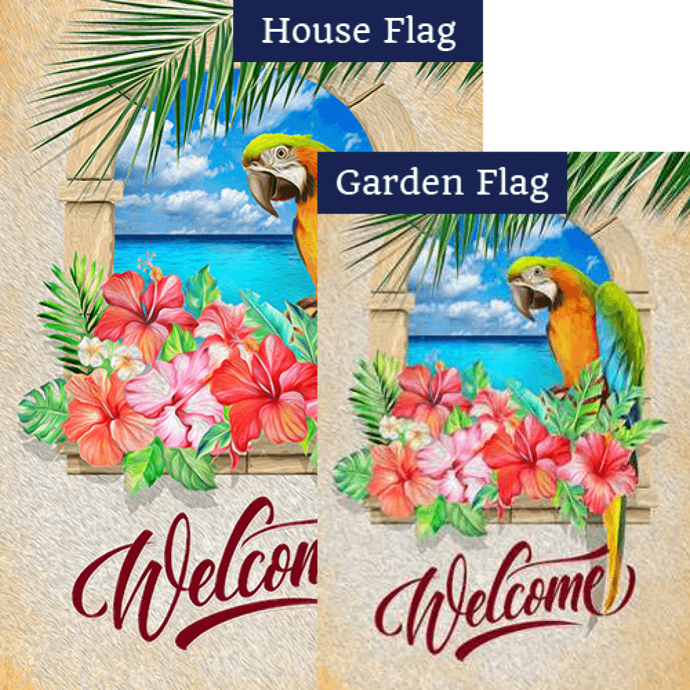 Welcome To Paradise Parrot Flags Set (2 Pieces)