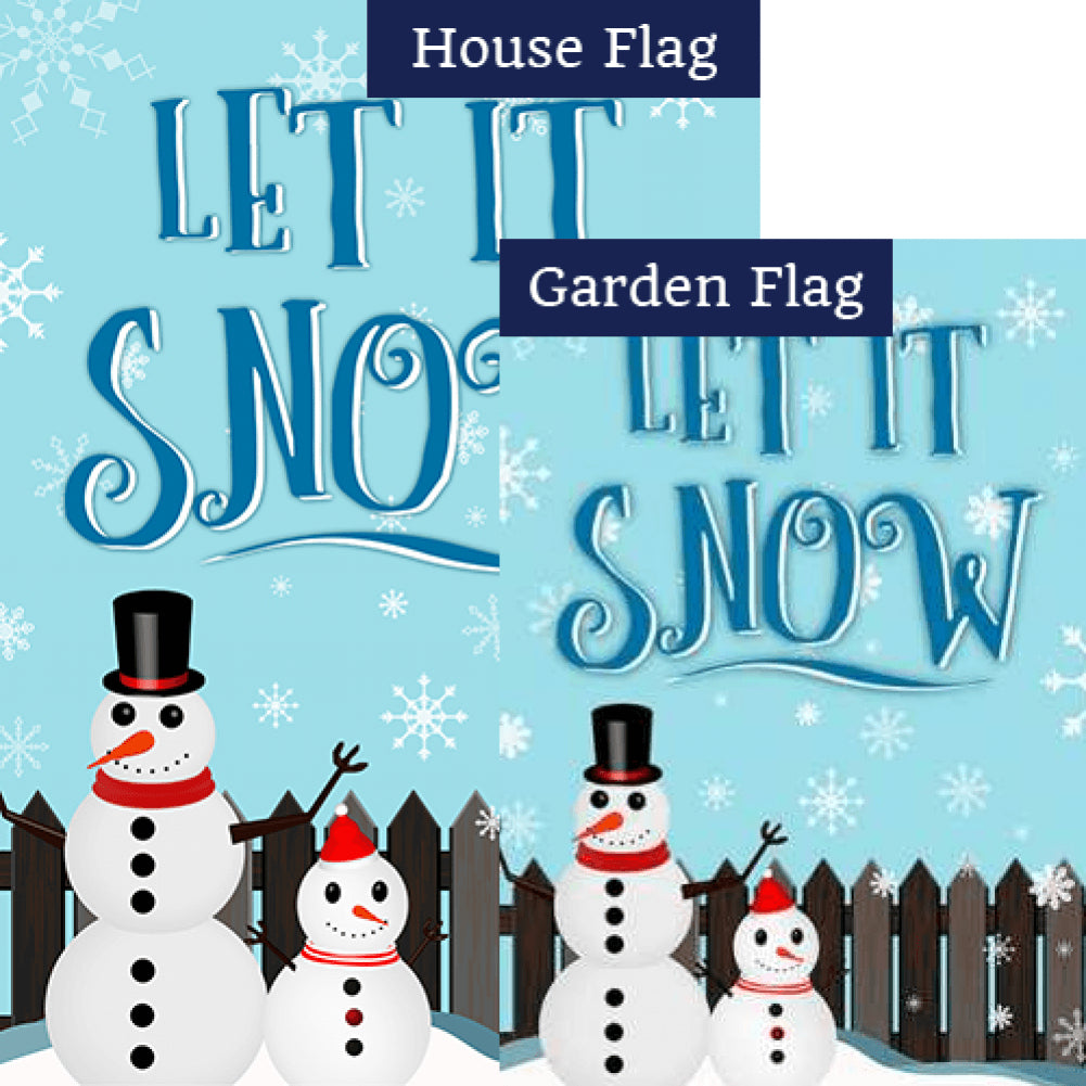 Let It Snow Backyard Snowmen Double Sided Flags Set (2 Pieces)