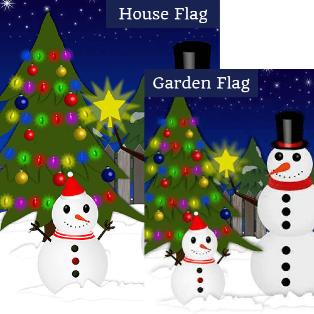 Snowman Christmas Tree Double Sided Flags Set (2 Pieces)