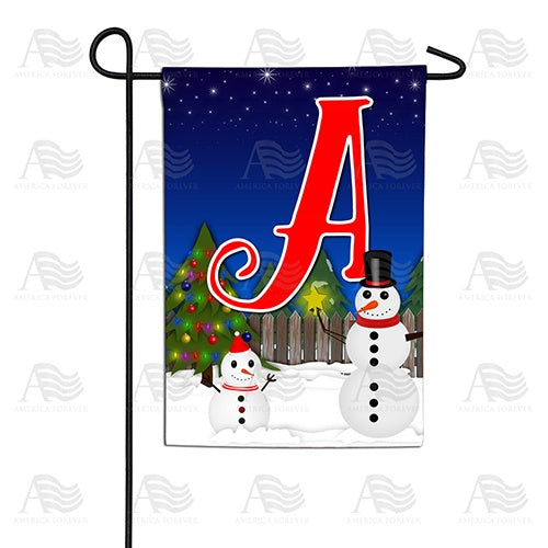 Snowman Christmas Tree Monogram Double Sided Garden Flag