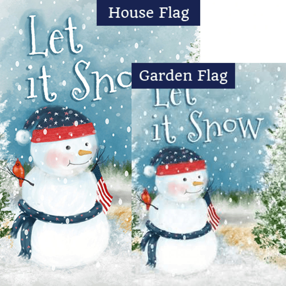 Let It Snow Watercolor Double Sided Flags Set (2 Pieces)