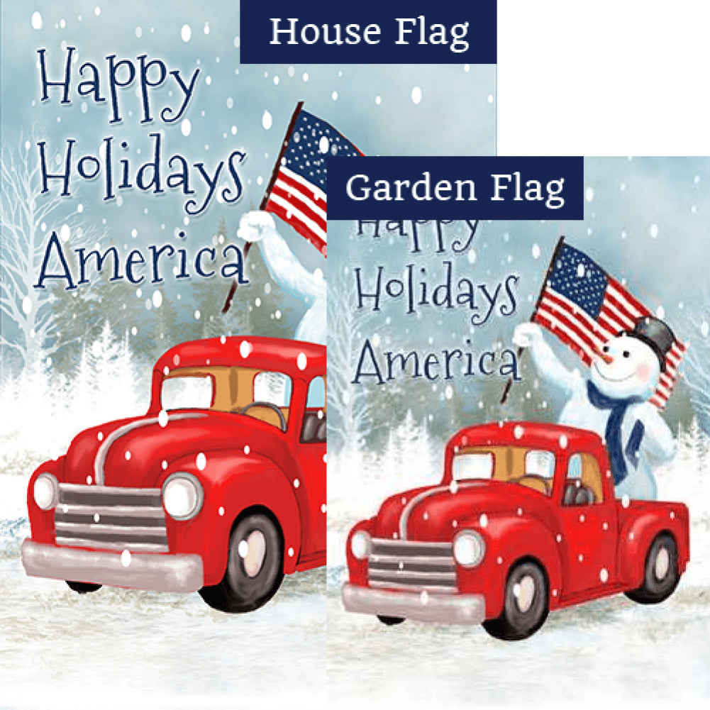 Happy Holidays America Double Sided Flags Set (2 Pieces)