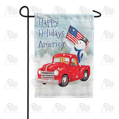 Happy Holidays America Double Sided Garden Flag