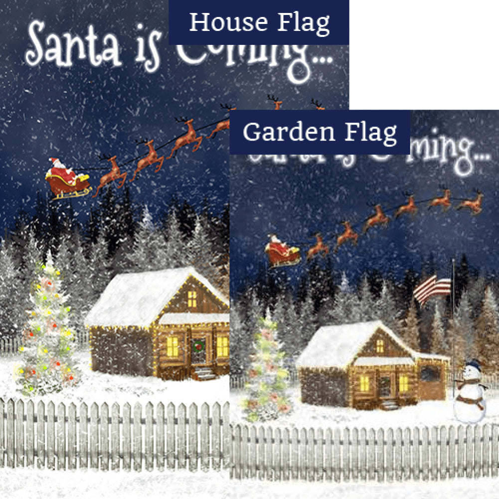Santa is Coming Double Sided Flags Set (2 Pieces)